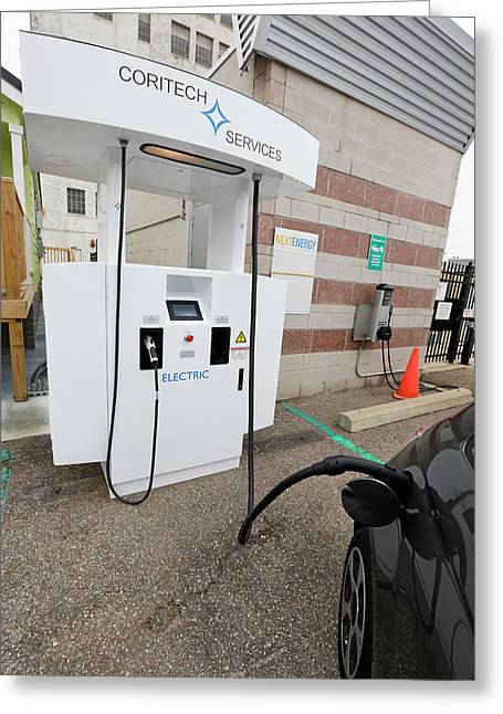 Bi-directional Electric Vehicle Charger Greeting Card by Jim West