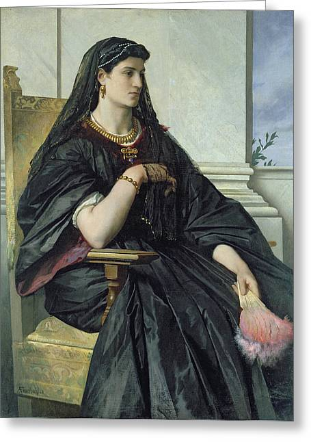 Jewellery Greeting Cards - Bianca Capello, 186468 Oil On Canvas Greeting Card by Anselm Feuerbach