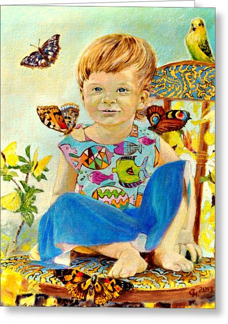 Angel Delight Greeting Cards - Bianka and butterflies Greeting Card by Henryk Gorecki