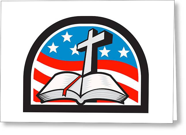 Bible Digital Art Greeting Cards - Bible and Cross Stars and Stripes Flag Retro Greeting Card by Aloysius Patrimonio