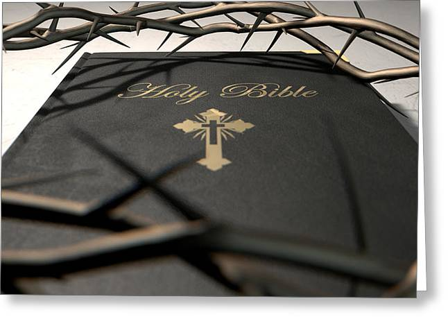Religious Digital Art Greeting Cards - Bible And Crown Of Thorns Greeting Card by Allan Swart