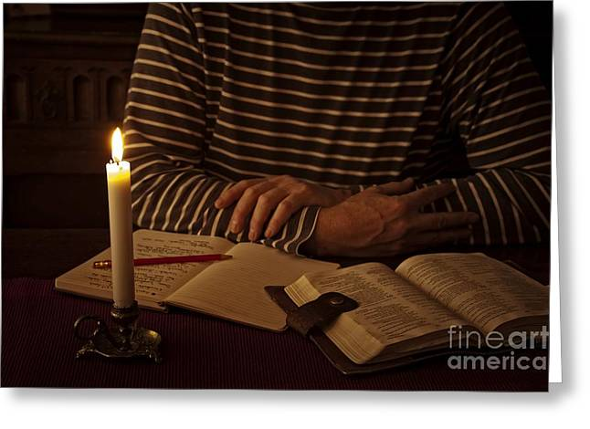 Candle Lit Digital Art Greeting Cards - Bible Devotion Greeting Card by Donald Davis