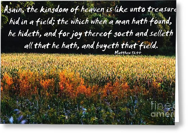 Gospel Of Matthew Greeting Cards - Bible Matthew 13 44 Greeting Card by Ron  Tackett