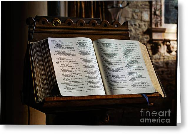 King James Version Greeting Cards - Bible open on a lectern Greeting Card by Louise Heusinkveld