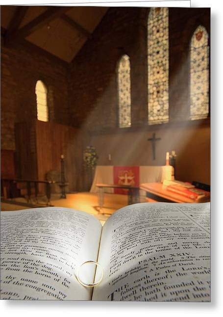 Bible With A Ring In Church Sanctuary Greeting Card by John Short