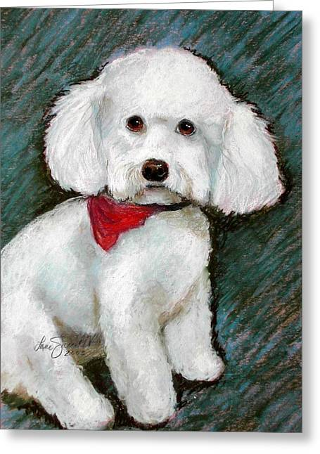 Breeds Pastels Greeting Cards - Bichon CoCo Greeting Card by Lenore Gaudet