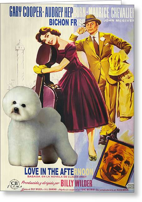 Dog Prints Greeting Cards - Bichon Frise Art - Love in the Afternoon Movie Poster Greeting Card by Sandra Sij