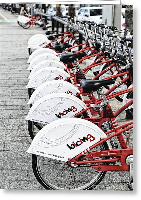 Barceloneta Greeting Cards - Bicing in Barcelona Greeting Card by George Oze