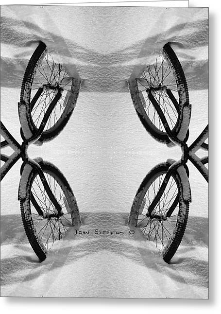 Bicycle Kick Greeting Cards - Bicycle Abstract Greeting Card by John Stephens