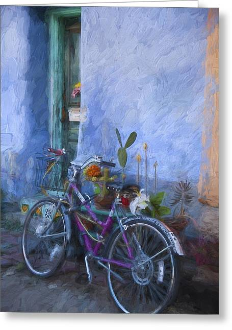 Western Mixed Media Greeting Cards - Bicycle and Blue Wall Painterly Effect Greeting Card by Carol Leigh