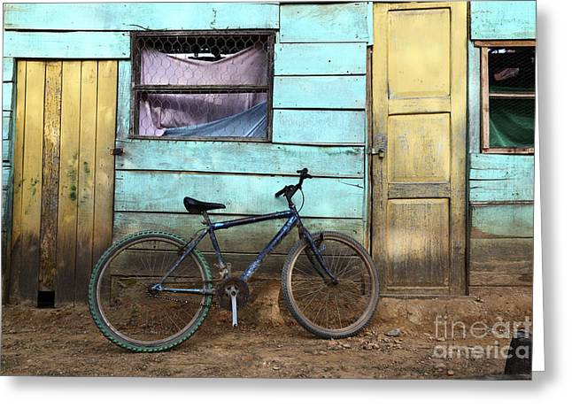 Pushbike Greeting Cards - Bicycle and Green House Greeting Card by James Brunker