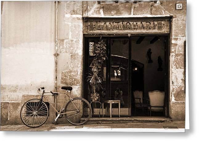 Self-portrait Photographs Greeting Cards - Bicycle and reflections at LAntiquari bar  Greeting Card by RicardMN Photography