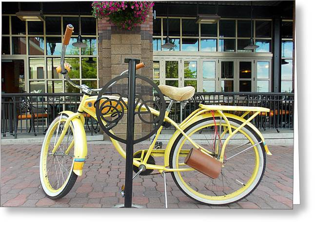 Recently Sold -  - ist Photographs Greeting Cards - Bicycle at Deschutes Brew House Greeting Card by Wendy Raatz Photography