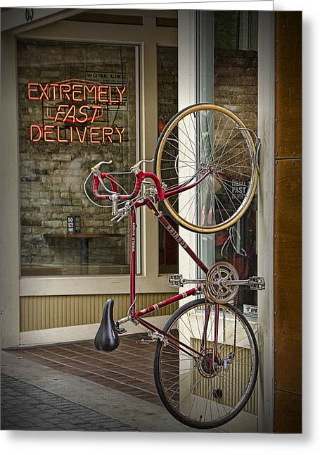 Bicycle Attached To Wall Outside Of Fast Food Restaurant Greeting Card by Randall Nyhof