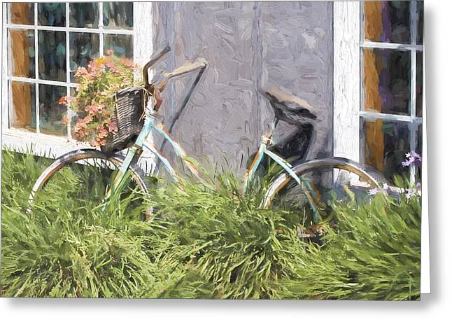 Vintage Bicycle Greeting Cards - Bicycle Basket of Flowers Painterly Effect Greeting Card by Carol Leigh