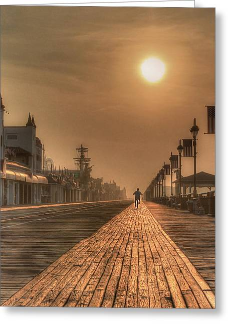 Ocean Shore Greeting Cards - Bicycle Boardwalk Greeting Card by Lori Deiter