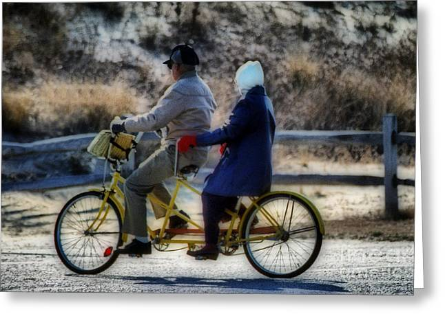 Tandem Bicycle Greeting Cards - Bicycle Built For Two Greeting Card by Skip Willits