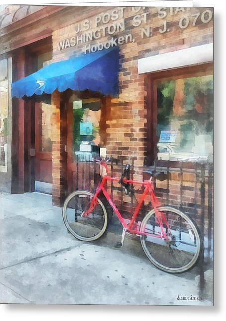 Hoboken Nj - Bicycle By Post Office Greeting Card by Susan Savad
