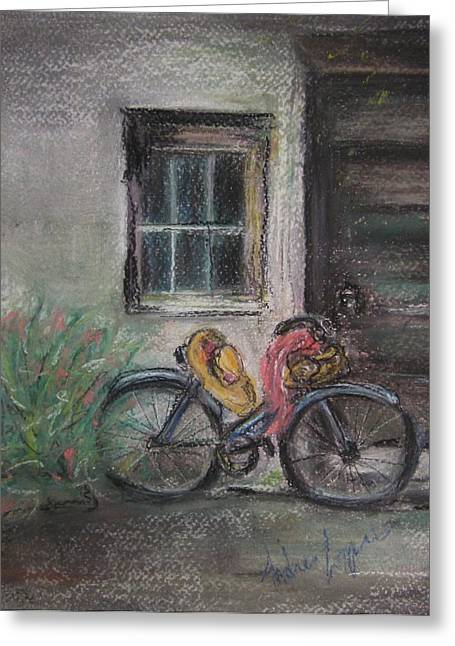 Nostalgia Pastels Greeting Cards - Bicycle By The Door Greeting Card by Andrea Flint Lapins