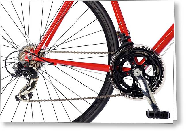 Bicycle Chain And Back Wheel Greeting Card by Science Photo Library