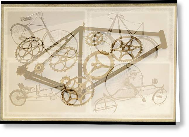 Bicycle Collage Greeting Cards - Bicycle Collage Greeting Card by Fran Riley