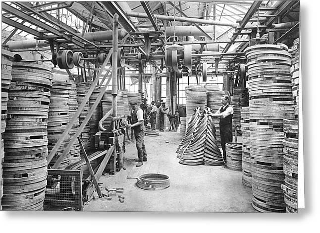 Bicycle Factory Interior Greeting Card by Underwood Archives