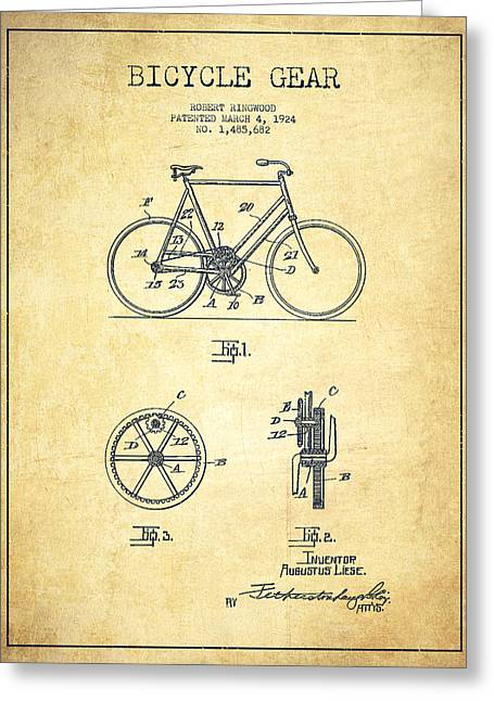 Pedals Greeting Cards - Bicycle Gear Patent Drawing from 1924 - Vintage Greeting Card by Aged Pixel