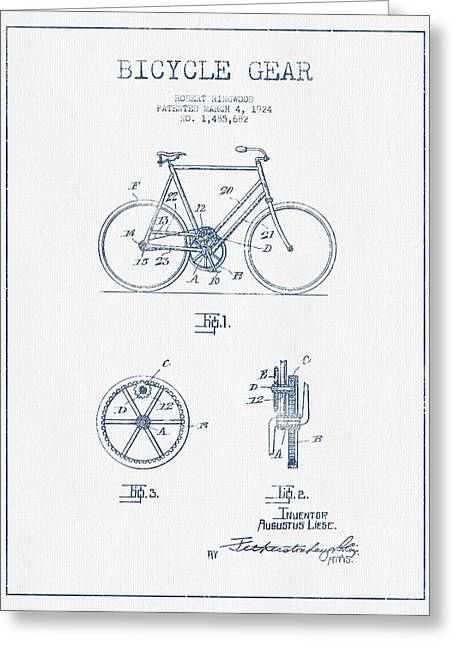 Bicycle Gear Patent Drawing From 1924 - Blue Ink Greeting Card by Aged Pixel