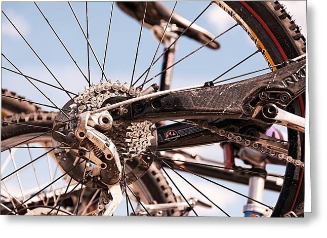 Bicycle Kick Greeting Cards - Bicycle Gears Greeting Card by Trever Miller