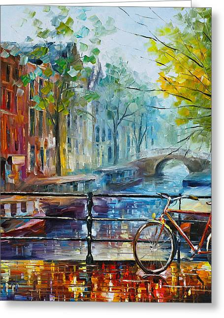 Buildings Paintings Greeting Cards - Bicycle in Amsterdam Greeting Card by Leonid Afremov