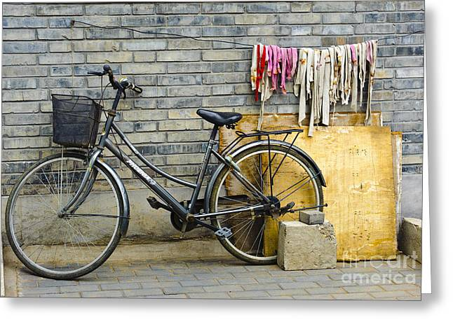 Hutong Greeting Cards - Bicycle In An Alleyway Greeting Card by John Shaw