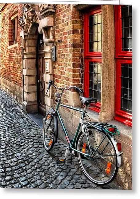 European Artwork Greeting Cards - Bicycle in Bruges Greeting Card by Carol Japp