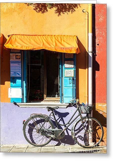 Old Wall Greeting Cards - Bicycle in front of colorful house - Burano - Venice Greeting Card by Matteo Colombo