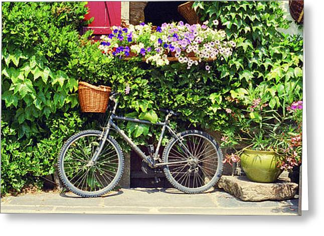 France Doors Greeting Cards - Bicycle In Front Of Wall Covered With Greeting Card by Panoramic Images