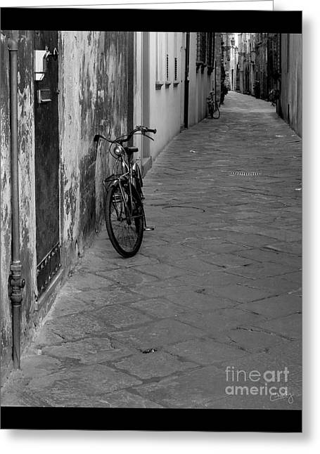 Charly Greeting Cards - Bicycle in Lucca Greeting Card by Prints of Italy