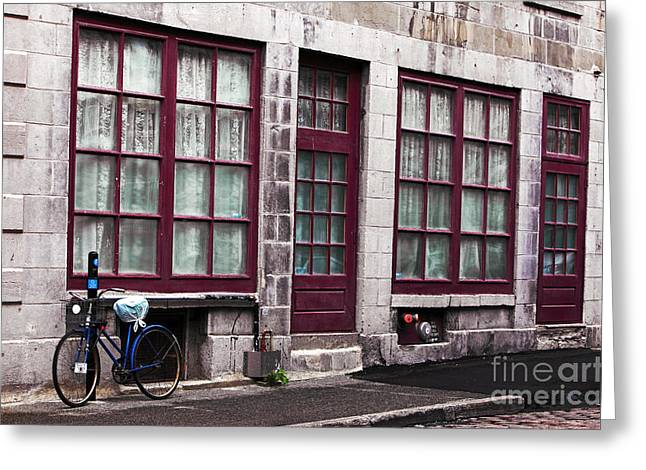 Quebec Province Greeting Cards - Bicycle in Old Montreal Greeting Card by John Rizzuto