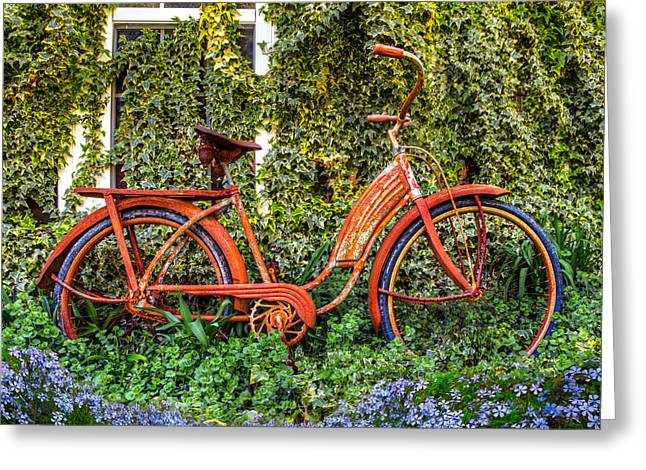 Shoppe Greeting Cards - Bicycle in the Garden Greeting Card by Debra and Dave Vanderlaan