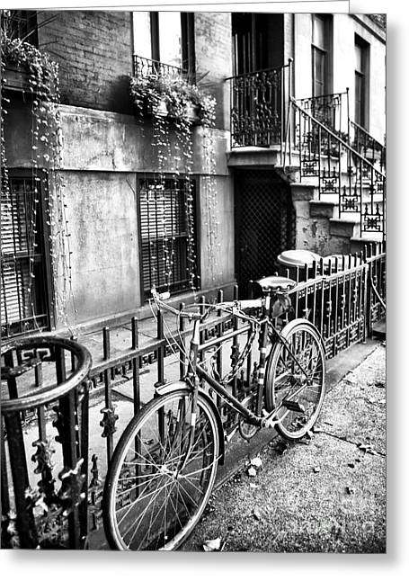 Recently Sold -  - Old Street Greeting Cards - Bicycle in the Village Greeting Card by John Rizzuto