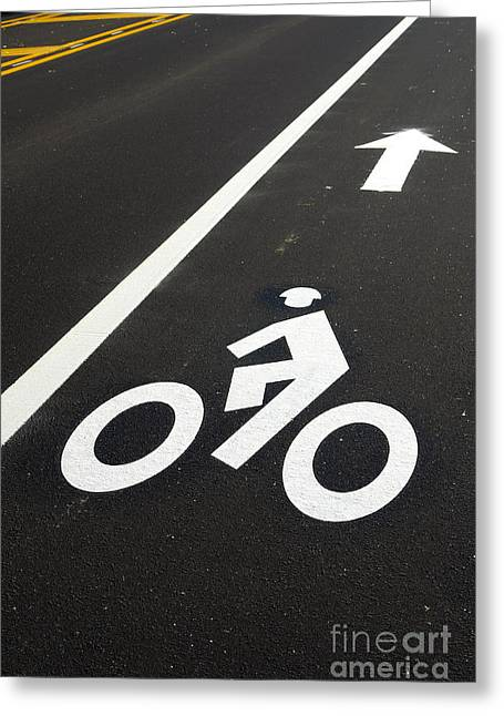 Roadway Photographs Greeting Cards - Bicycle Lane Greeting Card by Olivier Le Queinec