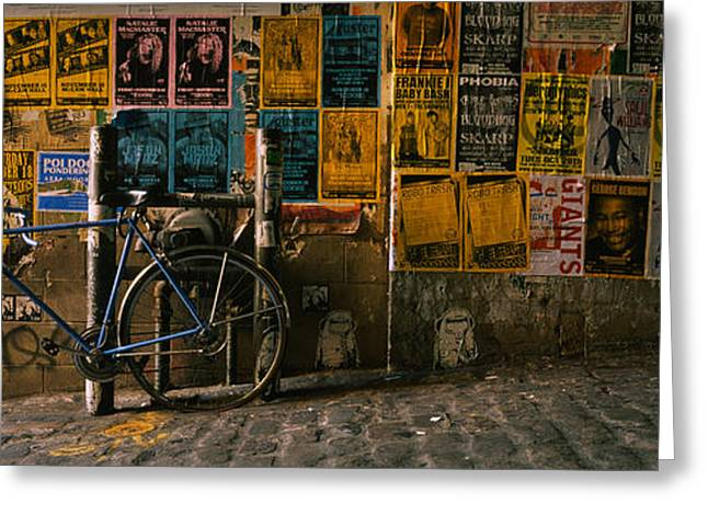 Washington Post Greeting Cards - Bicycle Leaning Against A Wall Greeting Card by Panoramic Images