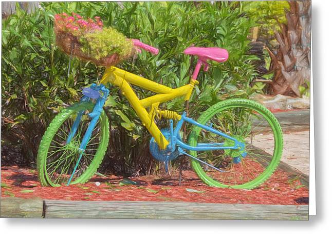 Yard Decorations Greeting Cards - Bicycle of Colors Greeting Card by Kim Hojnacki