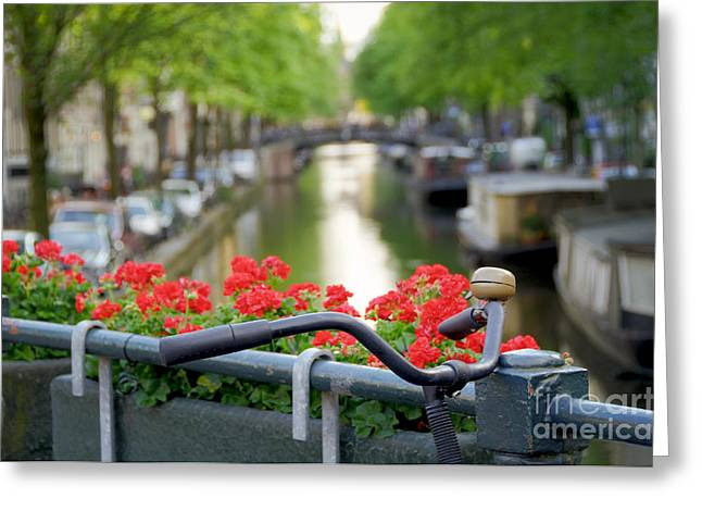 Reflection Of Geranium Flower Greeting Cards - Bicycle on canal bridge Greeting Card by Oscar Gutierrez