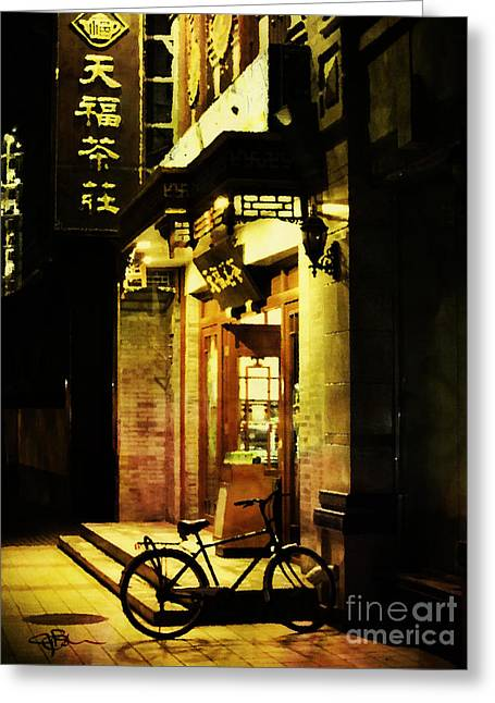 Bicycle On The Streets Of Beijing At Night Greeting Card by Jani Bryson