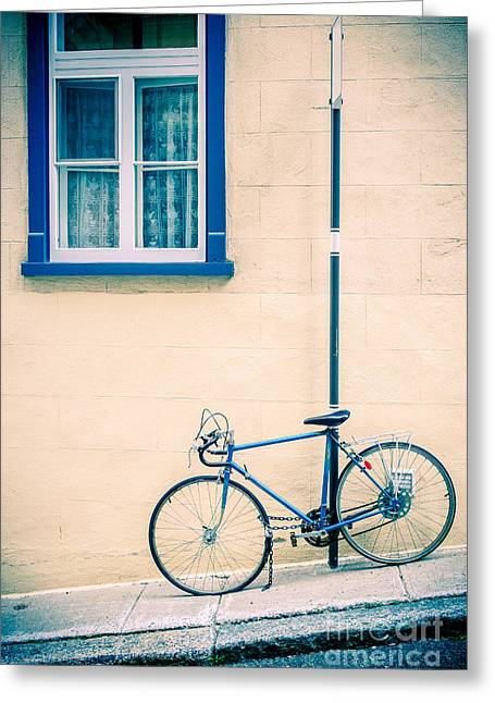 Old Stone Greeting Cards - Bicycle on the streets of Old Quebec City Greeting Card by Edward Fielding