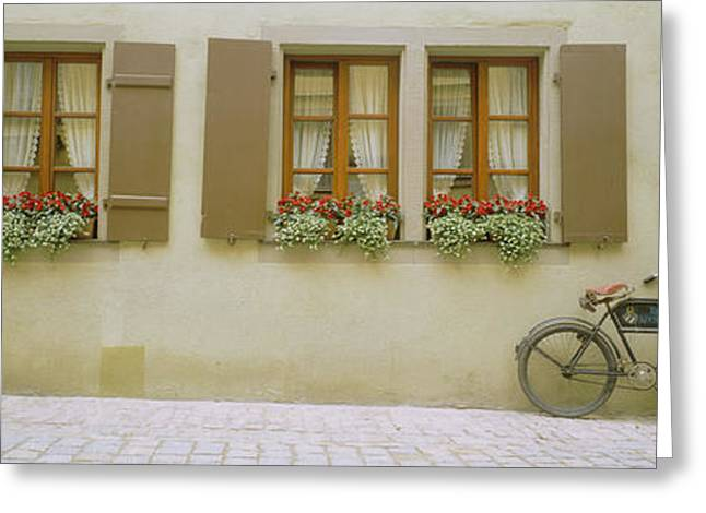 Photography Of Windows Greeting Cards - Bicycle Outside A House, Rothenburg Ob Greeting Card by Panoramic Images
