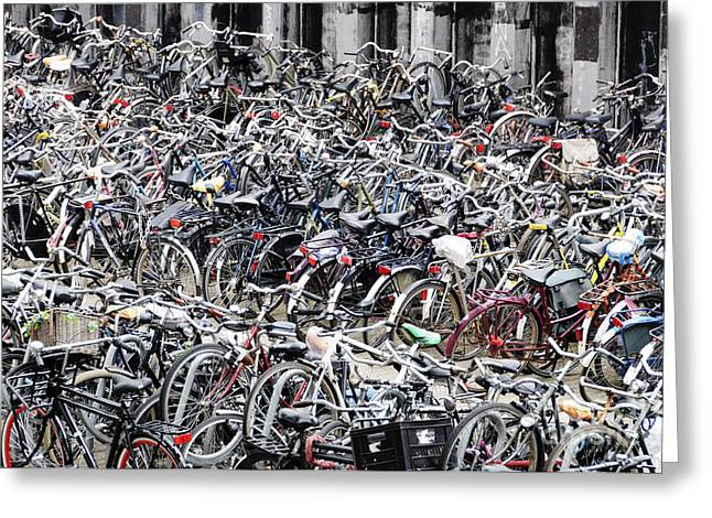 Bicycle Parking Lot Greeting Card by Oscar Gutierrez