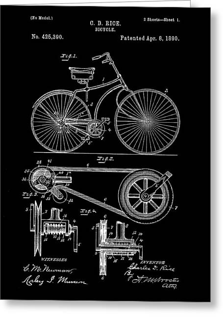 Tandem Bicycle Greeting Cards - Bicycle Patent 1890 - Black Greeting Card by Stephen Younts