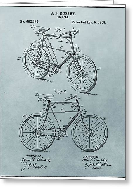 Vintage Bicycle Greeting Cards - Bicycle Patent Blue Greeting Card by Dan Sproul