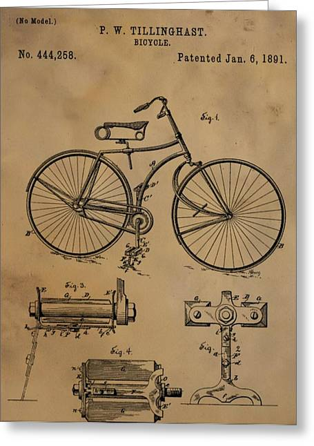 Bicycle Patent Greeting Card by Dan Sproul