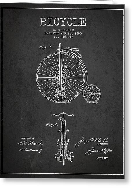 Vintage Bicycle Greeting Cards - Bicycle Patent Drawing From 1885 - Dark Greeting Card by Aged Pixel